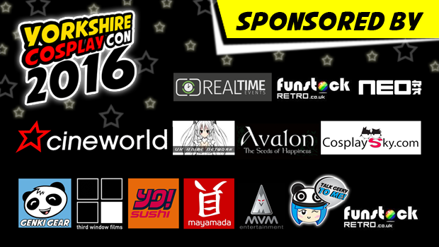 Sponsors of Yorkshire Cosplay Con 2016 at Sheffield Arena
